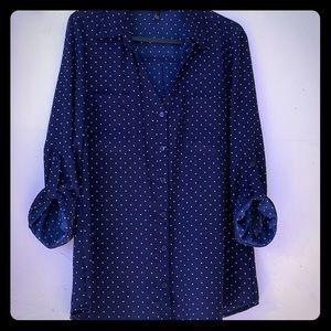 Button down V neck flowy blouse